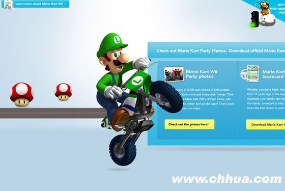Micro-site for Mario Kart Wii