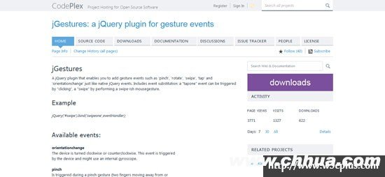 jGestures: a jQuery plugin for gesture events