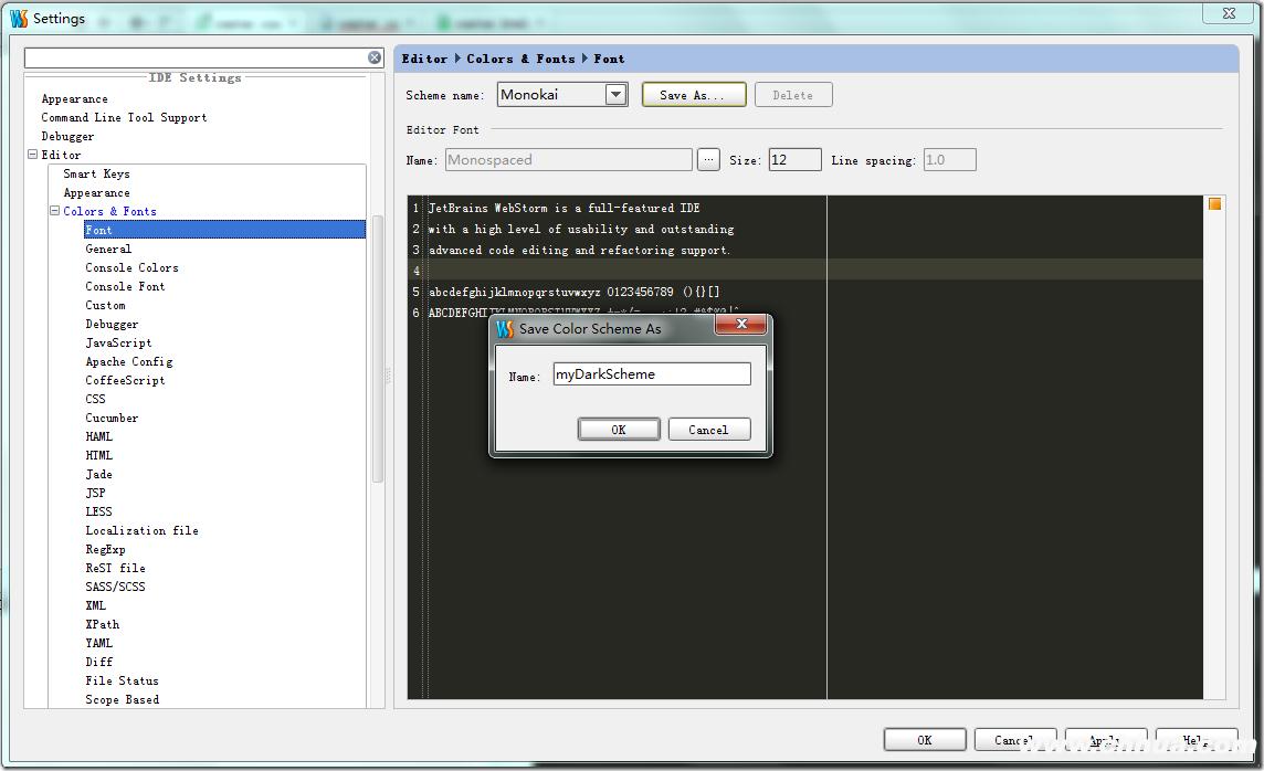 WebStorm 自定义字体+颜色+语法高亮+导入导出用户设置