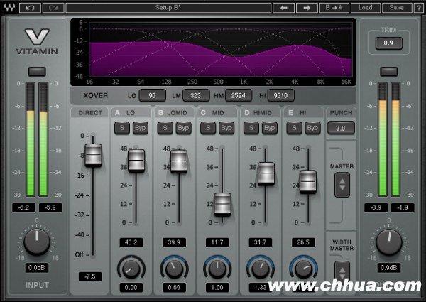 Waves 之 Vitamin 多段谐波激励器和声音塑形器
